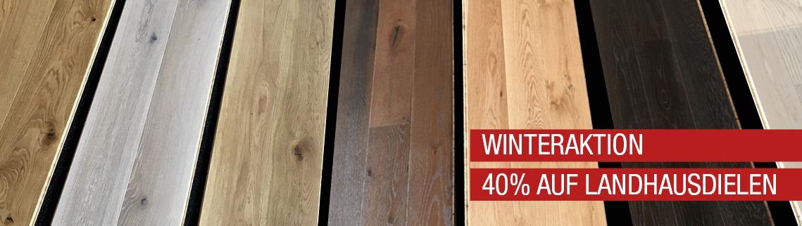Holzfachmarkt, Beinbauer-Holz, Landhausdielen, Winteraktion, 40 Prozent Rabatt